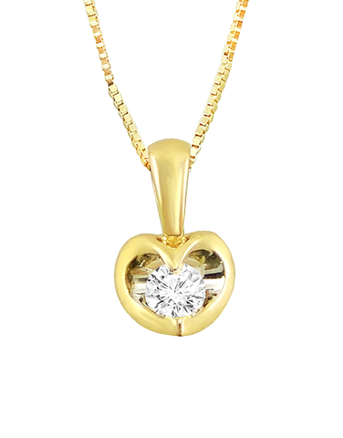 Diamond Pendant - Yellow Gold Diamond Heart Pendant - 764231
