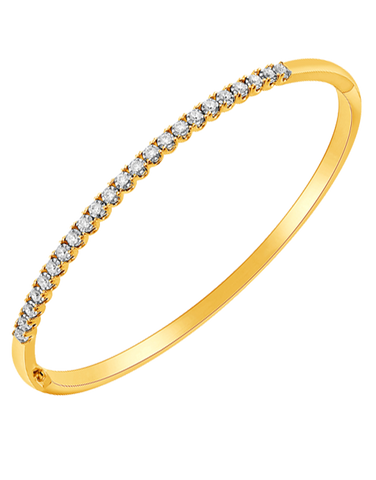 Diamond Bangle - 10ct Yellow Gold Diamond Set Bangle - 764473