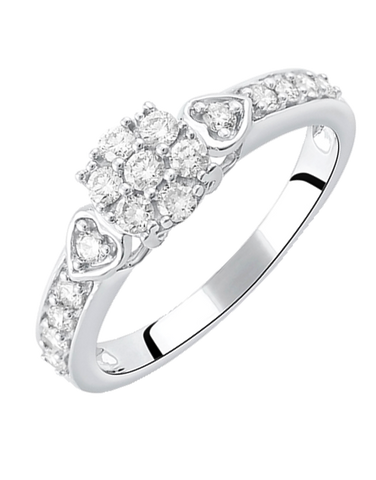 Diamond Ring - White Gold Diamond Cluster Ring - 764692