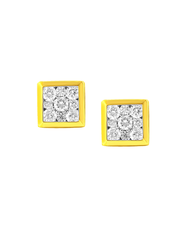Diamond Earrings - Diamond Set Yellow Gold Earrings - 764696 - NZ Delivery