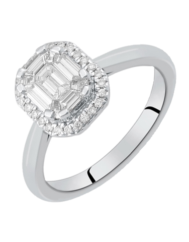 Diamond Ring - Emerald Cut Halo Engagement Ring - 764697