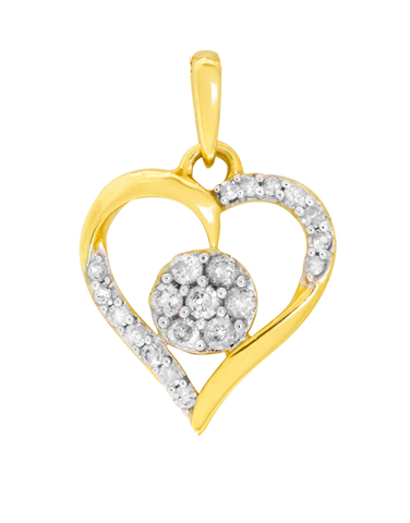 Diamond Pendant - Yellow Gold Diamond Heart Necklace - 764701