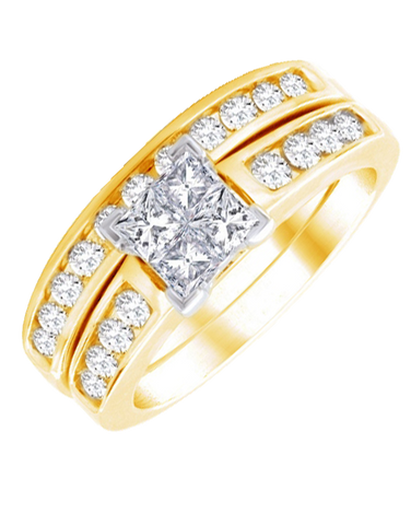Bridal Set - Yellow Gold Diamond Bridal Set Rings - 764705