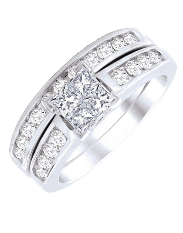 Bridal Set - White Gold Diamond Bridal Set Rings - 764706 - Salera's