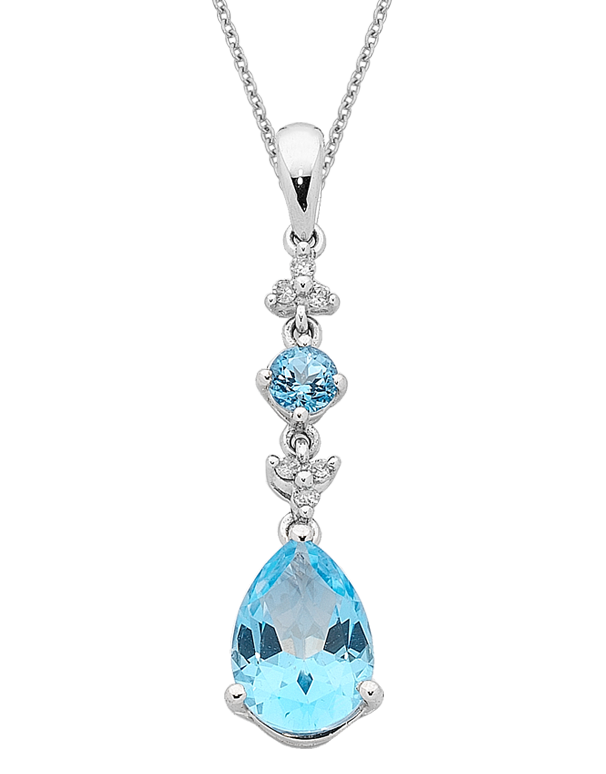 Blue Topaz and Diamond Pendant - 10ct White Gold Blue Topaz and Diamond Pendant -Bl