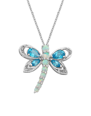 Created Opal and Diamond Butterfly Pendant - 10ct White Gold Created Opal and Diamond Pendant - 764712