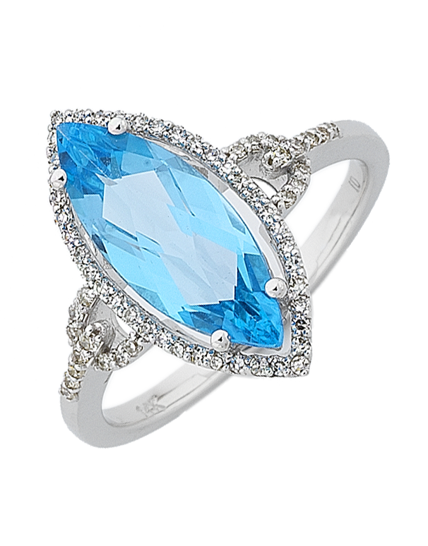 Blue Topaz Ring - White Gold Blue Topaz and Diamond Ring - 764714 - Salera's