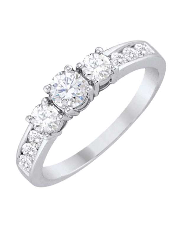 Diamond Ring - White Gold Diamond Trilogy Engagement Ring - 764719