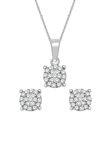 Diamond - Matching Diamond Pendant & Earrings Set - 764720