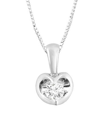 Diamond Pendant - White Gold Diamond Heart Pendant - 764791
