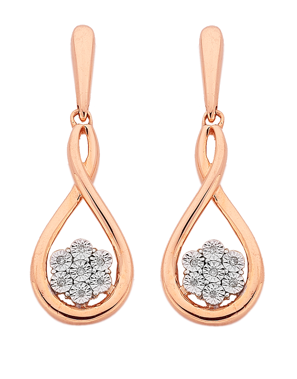 Diamond Earrings - Diamond Set 10ct Rose Gold Earrings - 764908 - Salera's Melbourne, Victoria and Brisbane, Queensland Australia - 1