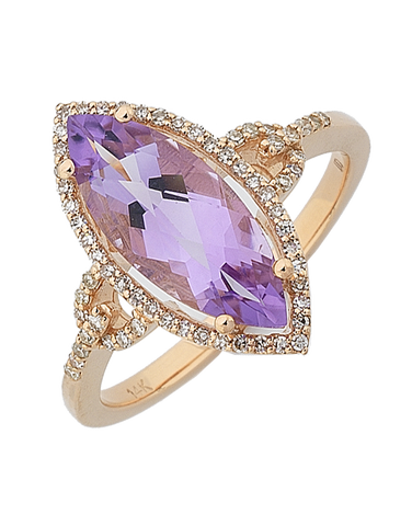 Amethyst Ring - Rose Gold Amethyst and Diamond Ring - 764911