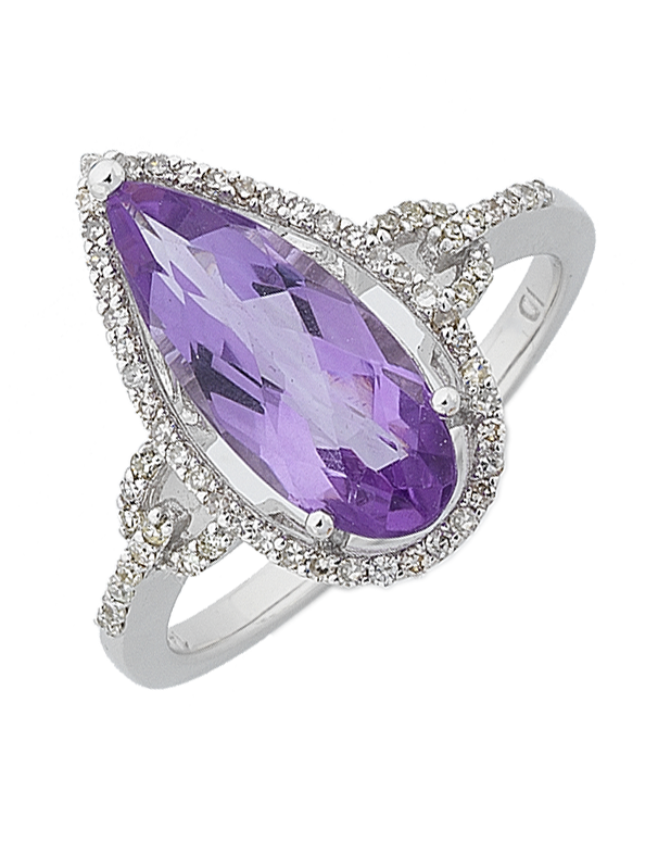 Amethyst Ring - White Gold Amethyst and Diamond Ring - 764913 - Salera's
