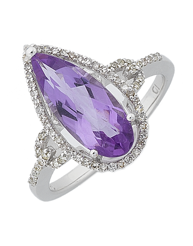 Amethyst Ring - White Gold Amethyst and Diamond Ring - 764913