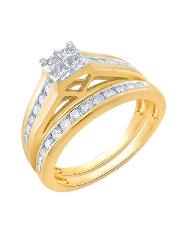 Bridal Set - Yellow Gold Diamond Bridal Set Rings - 765020