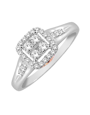 Diamond Ring - White and Rose Gold Diamond Ring - 765061