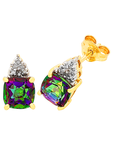 Mystic Topaz Earrings - Yellow Gold Mystic Topaz Stud Earrings - 765984