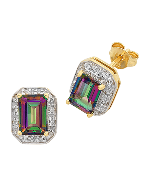 Mystic Topaz Earrings - Yellow Gold Mystic Topaz Stud Earrings - 765986 - Salera's