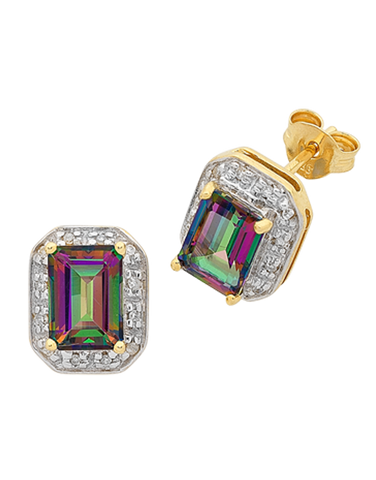 Mystic Topaz Earrings - Yellow Gold Mystic Topaz Stud Earrings - 765986