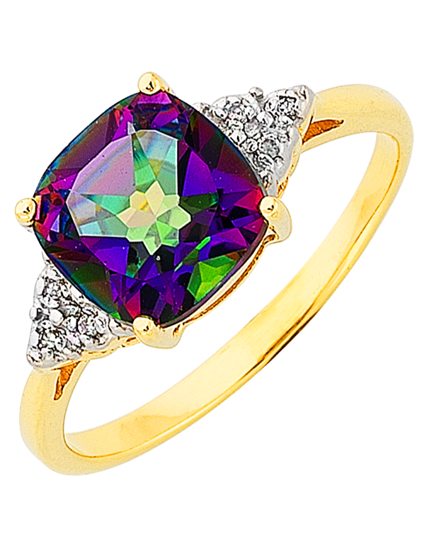 Mystic Topaz Ring - Yellow Gold Mystic Topaz and Diamond Ring - 765988 - Salera's