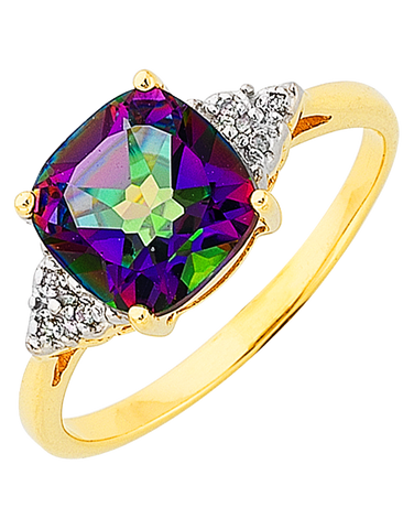 Mystic Topaz Ring - Yellow Gold Mystic Topaz and Diamond Ring - 765988
