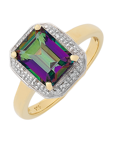 Mystic Topaz Ring - Yellow Gold Mystic Topaz and Diamond Ring - 765989
