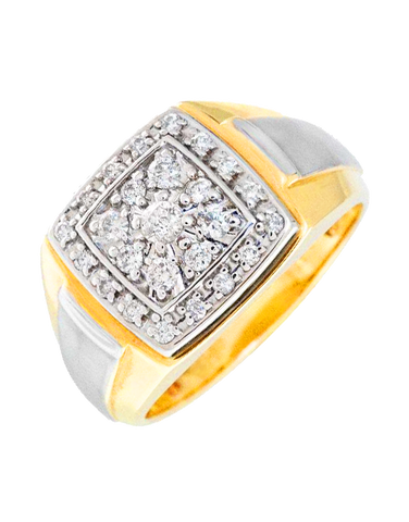 Men's Ring - Two Tone Diamond Set Ring - 765993