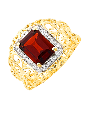 Garnet Ring - 9ct Yellow Gold Garnet and Diamond Ring - 766011