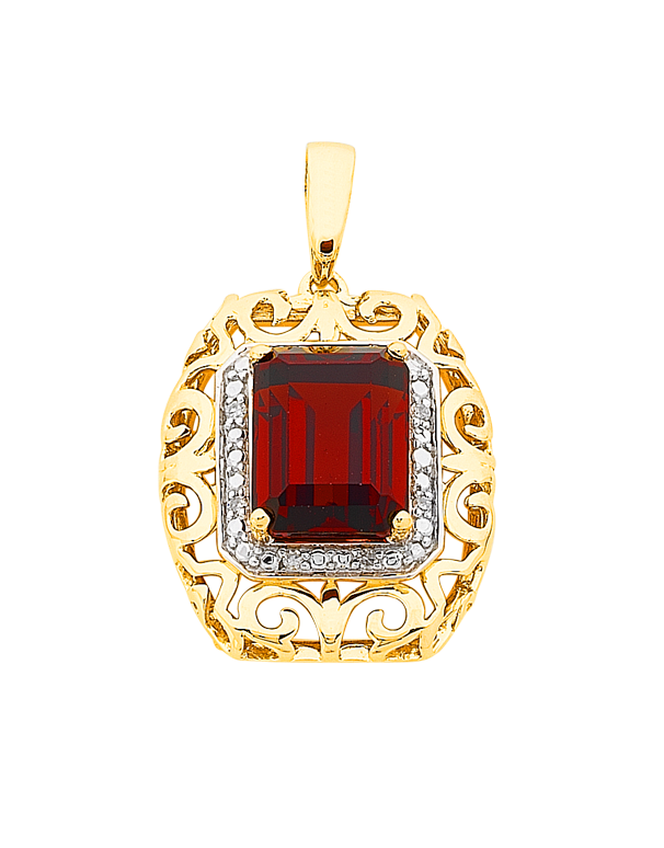Salera's Garnet Pendant - 9ct Yellow Gold Garnet and Diamond Pendant - 766012