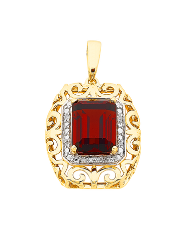 Garnet Pendant - 9ct Yellow Gold Garnet and Diamond Pendant - 766012