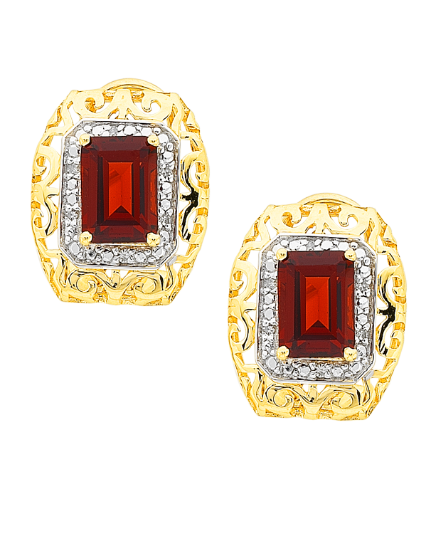 Salera's Garnet Earrings - 9ct Yellow Gold Garnet and Diamond Earrings - 766013
