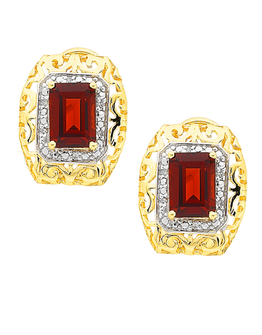 Garnet Earrings - 9ct Yellow Gold Garnet and Diamond Earrings - 766013
