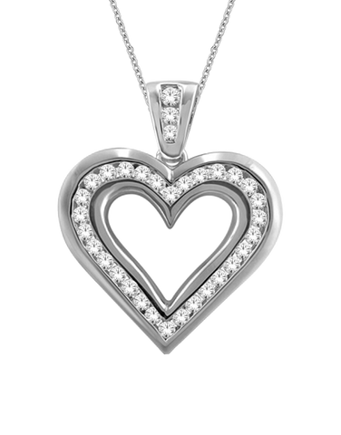 Diamond Pendant - White Gold Diamond Heart Pendant - 766050