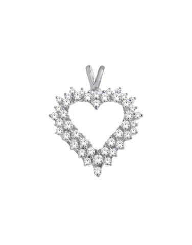 Diamond Pendant - White Gold Diamond Heart Pendant - 766063