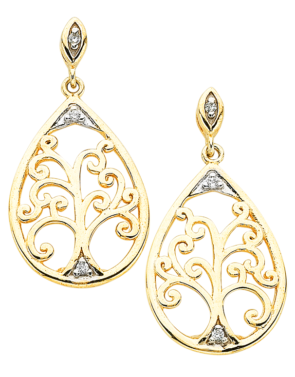Gold Earrings - Two Tone Tree of Life Earrings - 766068 - Salera's Melbourne, Victoria and Brisbane, Queensland Australia