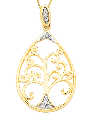 Gold Pendant - Two Tone Diamond Set Tree of Life Pendant - 766069