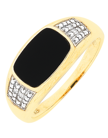 Men's Ring - Yellow Gold Onyx & Diamond Set Ring - 766071