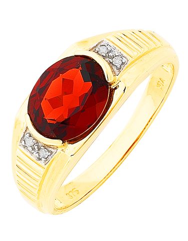 Men's Ring - Yellow Gold Garnet & Diamond Set Ring - 766072