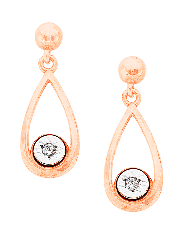Salera's Diamond Earrings - Diamond Set Rose Gold Earrings - 766074