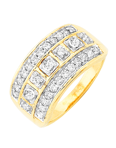 Diamond Ring - 9ct Yellow Gold Diamond Ring - 766080