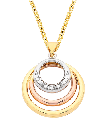 Gold Pendant - 9ct Three Tone Gold Circle Pendant - 766086