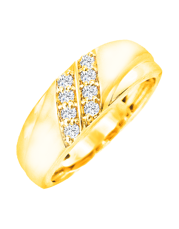 Men's Ring - Yellow Gold Diamond Set Ring - 766098 - Salera's Melbourne, Victoria and Brisbane, Queensland Australia