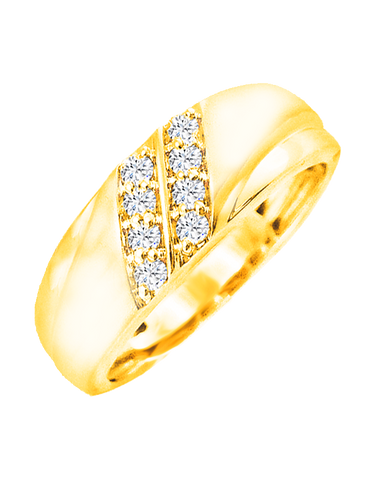 Men's Ring - Yellow Gold Diamond Set Ring - 766098