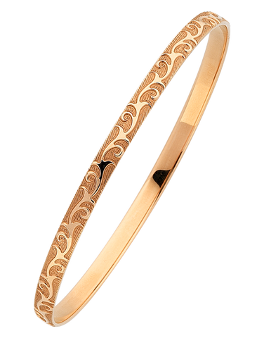 Gold Bangle - Solid Rose Gold Engraved Bangle - 766099