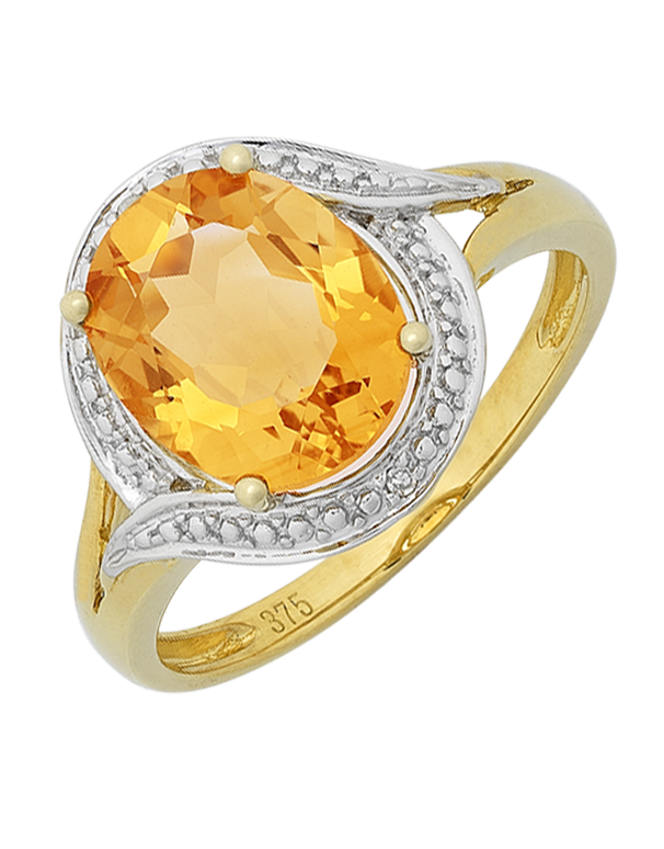 Citrine Ring - Yellow Gold Citrine and Diamond Ring - 766106  - Salera's Melbourne, Victoria and Brisbane, Queensland Australia