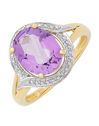 Amethyst Ring - Yellow Gold Amethyst and Diamond Ring - 766107