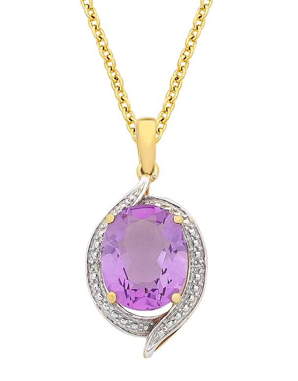 Amethyst Pendant - Yellow Gold Amethyst and Diamond Pendant - 766109 - Salera's
