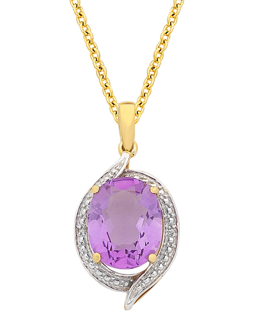 Amethyst Pendant - Yellow Gold Amethyst and Diamond Pendant - 766109