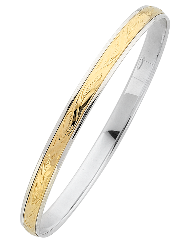 Silver & Gold Bangle - Silver & Yellow Gold Engraved Bangle - 766112 - Salera's Melbourne, Victoria and Brisbane, Queensland Australia