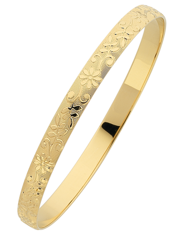 Gold Bangle - Solid Engraved Bangle - 766114